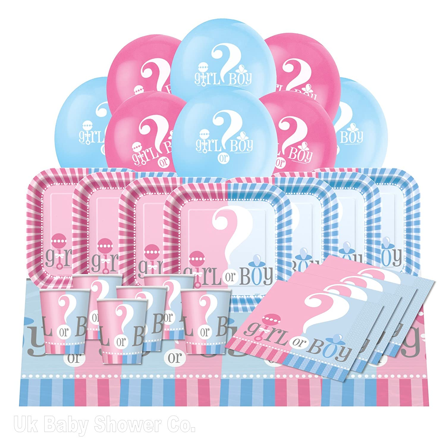 Baby Shower Essential Party Pack from Gender Reveal Range (16 Guest) Uk Baby Shower Co 93315