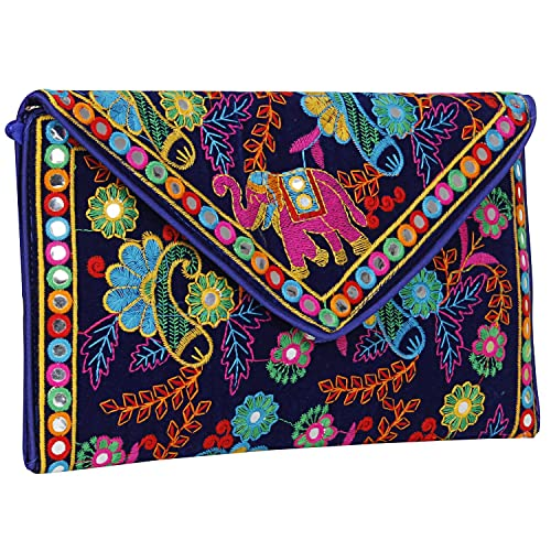 4ed0318952 Image Unavailable. Image not available for. Color: Handmade Ethnic  Embroidered Banjara foldover Clutch Purse-Sling ...