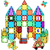 MagHub 65 Piece Set Kids Magnet Toy Magnetic Tiles Shape, Clear 3D Magnetic Building Blocks Set, Magnetic Stacking Toy Constr
