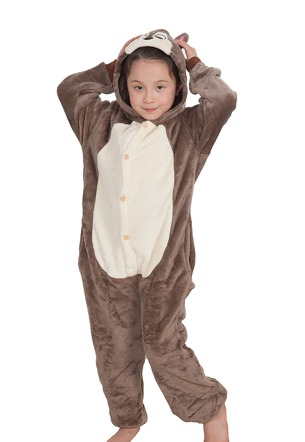Auspicious beginning Chipmunk Animal Sleepwear Halloween Party Costumes Outfit Onesie Pajamas Adult Kids