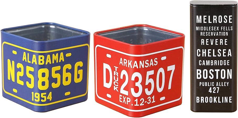 Mitsuno - Caja de Lata Decorativa (3 Unidades, Metal), diseño Vintage: Amazon.es: Hogar