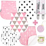 Baby Burp Cloths Pack of 5 by Dodo Babies + 2 Pacifier Clips + Pacifier Case, Premium Quality For Girls Soft and…