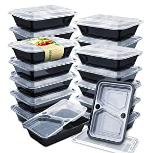 Enther 36oz Meal Prep Containers [20 Pack] 3 Compartment with Removable Insert Tray, 2-Tier Food Storage Bento Box with Lids, BPA Free, Reusable Lunch Box, Stackable/Microwave/Dishwasher/Freezer Safe