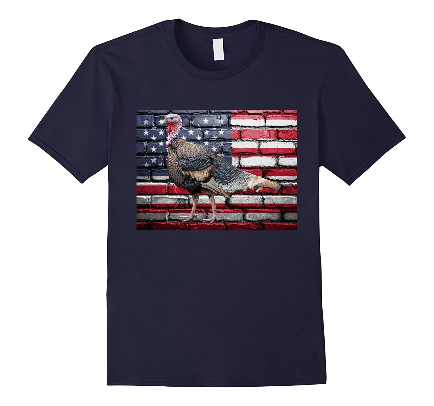 American Flag Thanksgiving Turkey Patriotic Family T-Shirt-Art