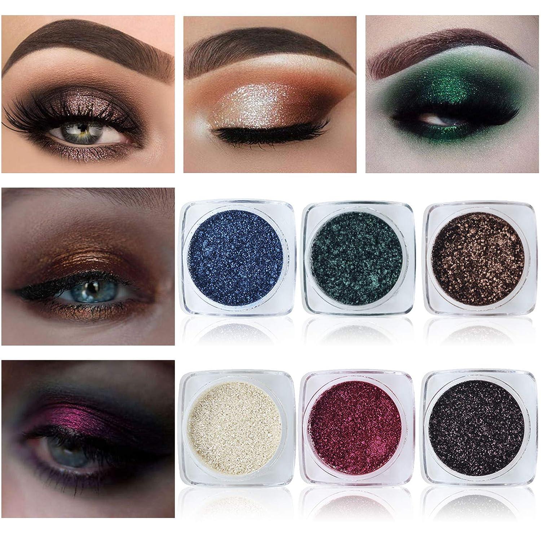 6pcs Twinkle Dust Eyeshadow Metallist Sparkling Foiled,Smoky Eyes Makeup Bundle Kit, Holographic Look, Loose Pigment Powder