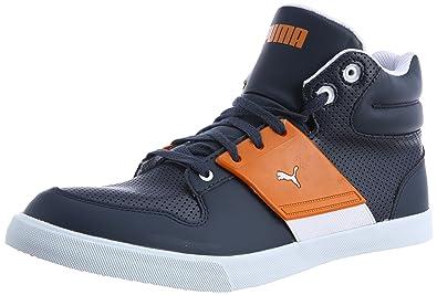 Puma Men's El Ace 2 Mid Pn New Navy and Sun Orange Sneakers - 7 UK