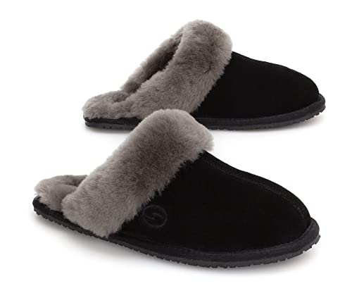 55deea056 SHEPHY Maya Mule Merino Shearling Sheepskin Slippers for Women with Suede  Leather Upper and Cuff (