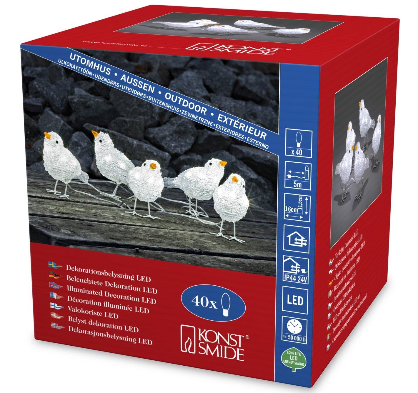 Konstsmide - Pájaros de acrílico con luz LED, 5 unidades, 40 diodos de luz blanca fría, transformador exterior de 24 V, cable transparente 6144-203