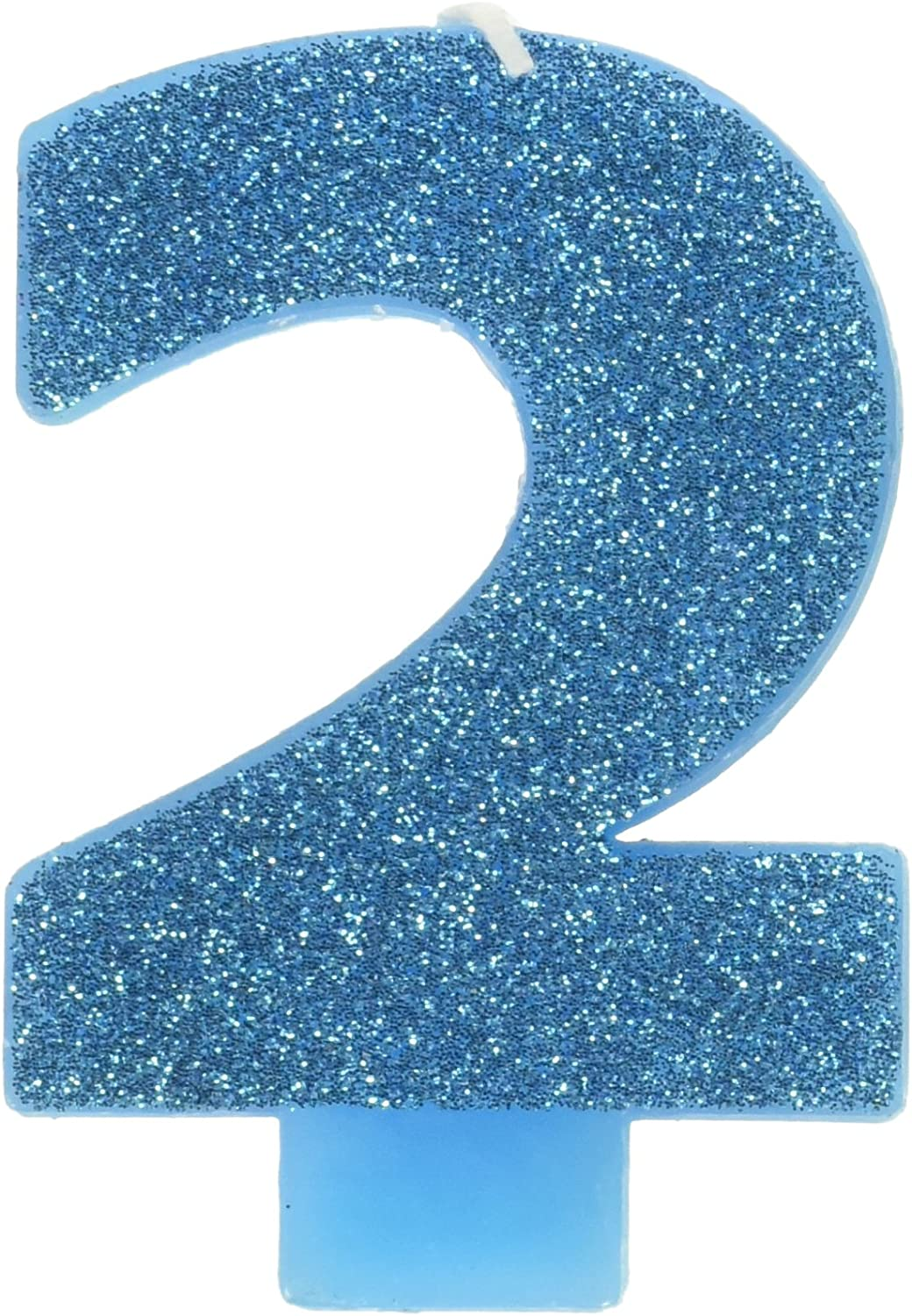 #2 Glitter Birthday Candle | Caribbean Blue | Party Supply 81-u-HlRNTL