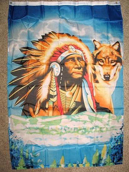 Amazon.com: Indian wolf Bandera 3 x5 Native American ...