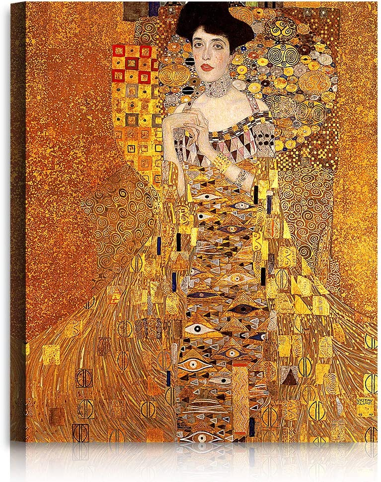 A&T ARTWORK The Lady in Gold by Gustav Klimt. The World Classic Art Reproductions, Giclee Canvas Prints Wall Art for Home Decor, 30x24 inches