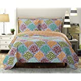 Dahlia King / California-King Size, Over-Sized Coverlet 3pc set, Luxury Microfiber Printed Quilt by Royal Hotel