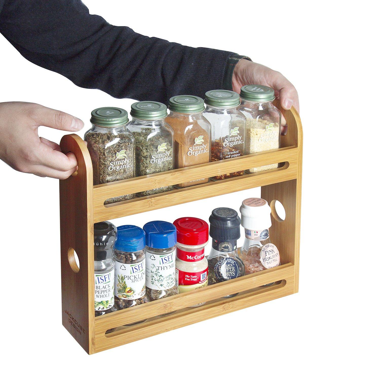 JackCubeDesign Bamboo 2 Tier Spice Jar Rack Piano di lavoro da cucina Espositore da banco Organizer Bottiglie per spezie Supporto per ripiani (32, 4 x 7 x 27, 4 cm) -: MK377A 4335510062
