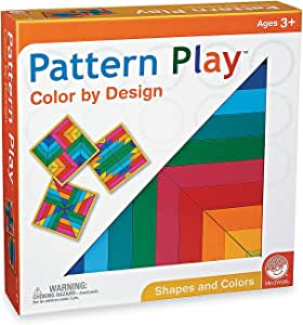 MindWare Pattern Play Bright Colors – Recreate The 40 Design Cards – 40pc Wooden Block Pattern Puzzle for Kids and Adults – Classic Educational Shape Toys for classrooms
