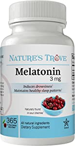 Melatonin 3mg Chewable, 365 Chewable Melatonin Cherry Flavor Tablets, Natural Sleep Aid Supplement, by Nature's Trove
