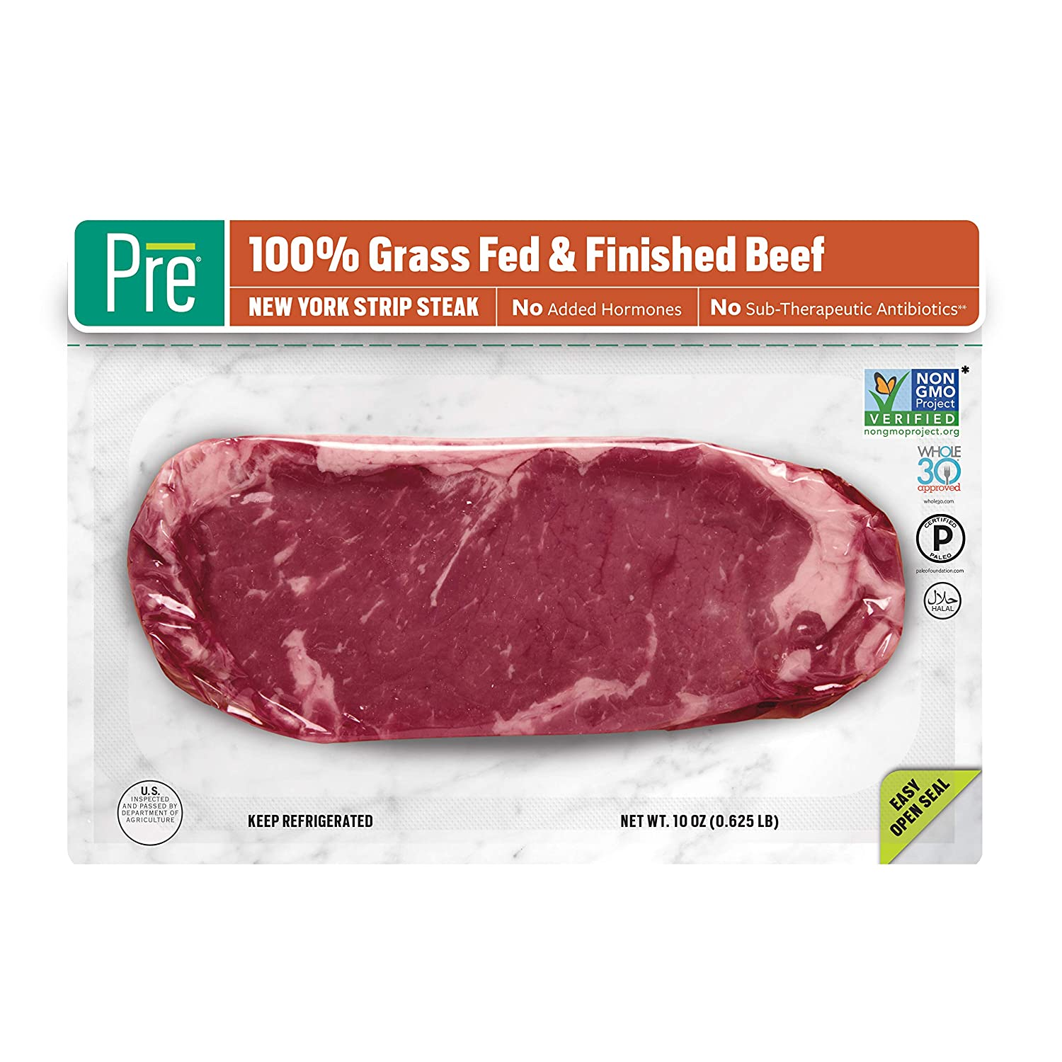 Pre, New York Strip Steak – 100% Grass-Fed, Grass-Finished, and Pasture-Raised Beef – 10oz.