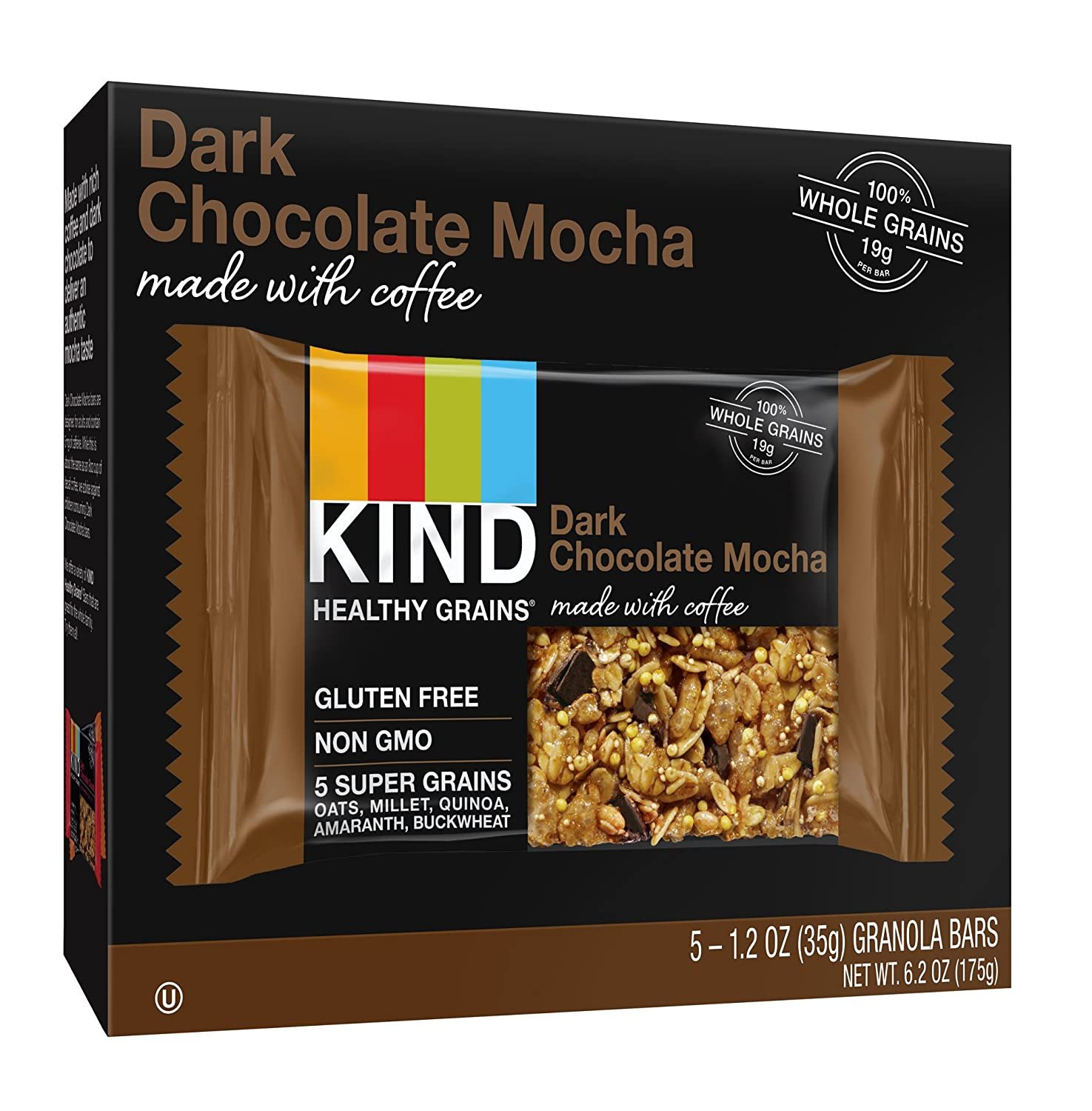 KIND Healthy Grains Dark Chocolate Mocha Bars, 6.2 Ounce (Pack of ...