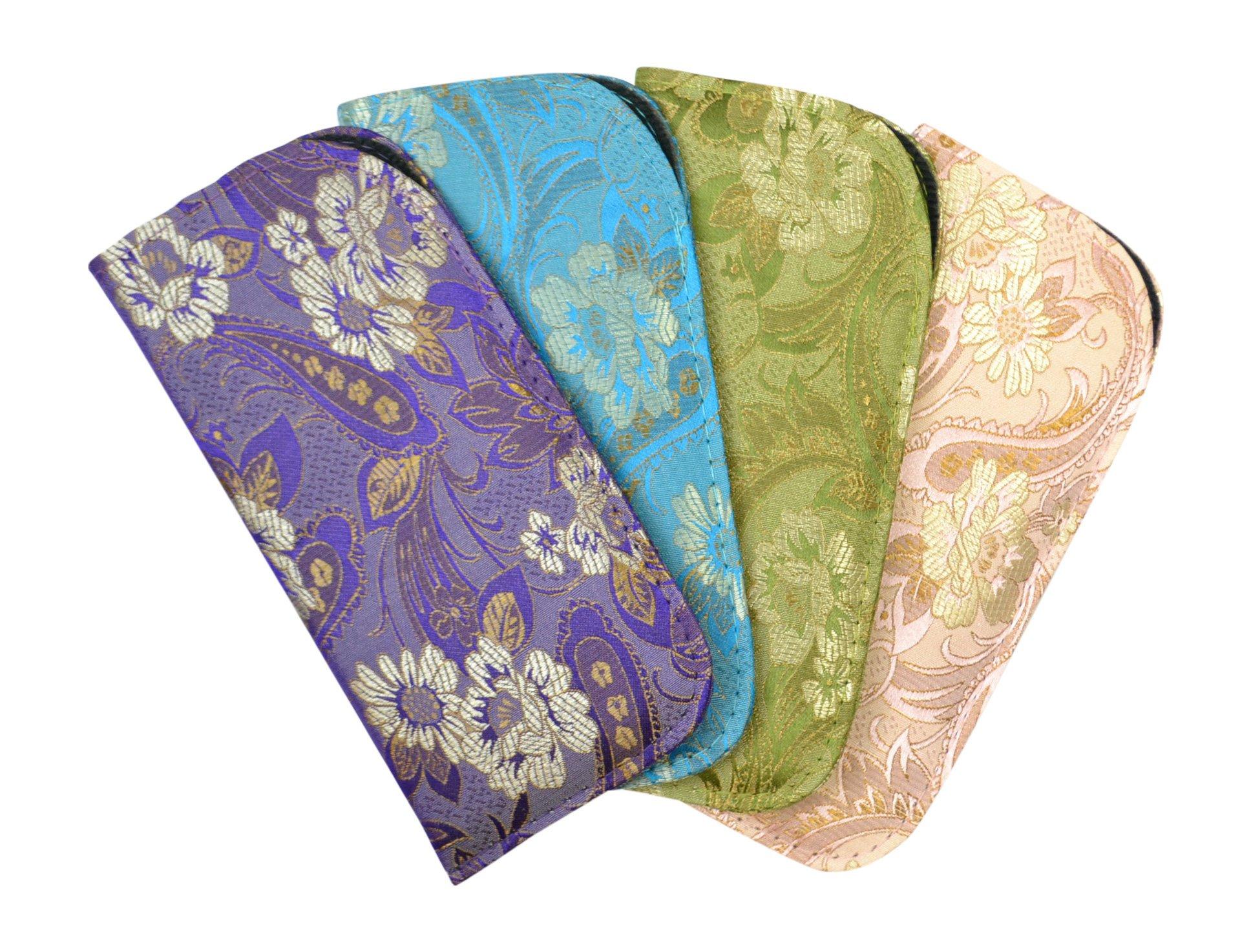 4 Pack Assortment Silk Brocade Style Asian Theme Slip Case Purple Blue Sage Pink