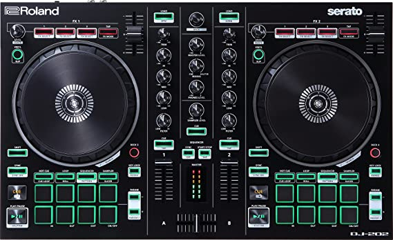 Amazon.com: Roland DJ Controller, BLACK, Two-Channel, Four-Deck with Serato Pro (DJ-202): Musical Instruments