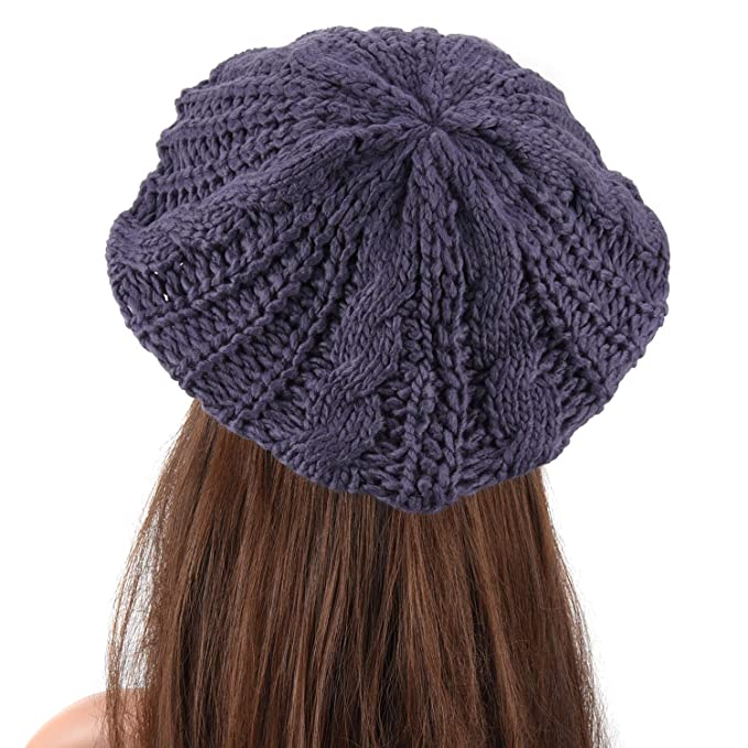 d038f9a6a62 Amazon.com  EUBUY Lady Winter Warm Baggy Beret Chunky Knitted Braided Beanie  Hat  Home   Kitchen