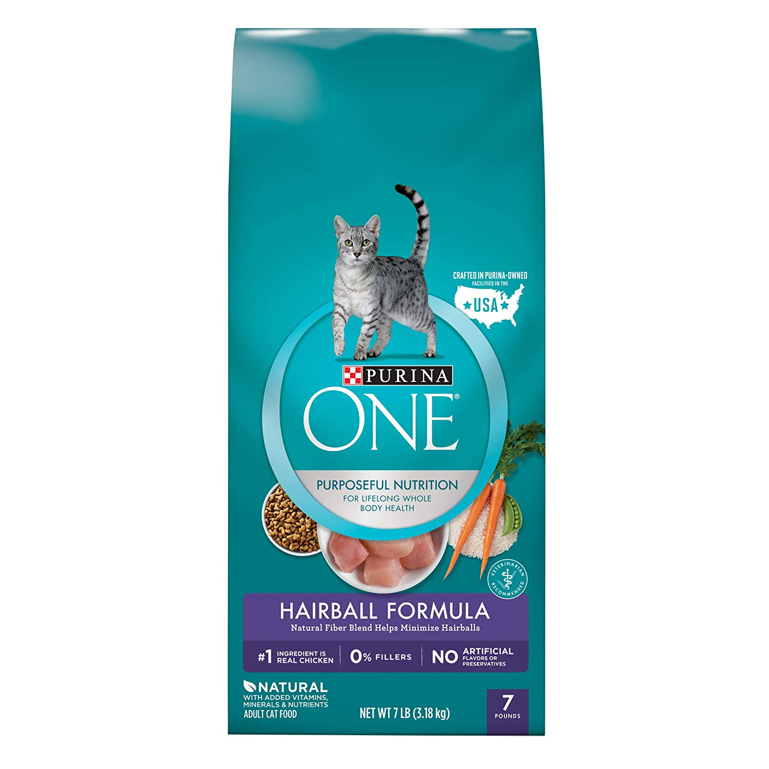 7 LB Bag Purina ONE Dry Cat Food, Hairball Formula, 7-Pound Bag, Pack of 1