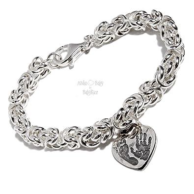 2d91e8fe5 BabyRice Personalised Sterling Silver Baby Handprint Footprint Heart Charm  on Chunky Links Bracelet (7 IN): Amazon.co.uk: Jewellery