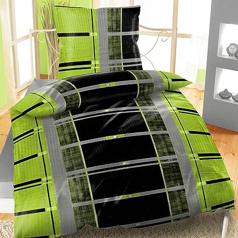 Great Baumwoll Bettwäsche Seersucker 135x200 2 Teiliges Set Streifen Grün Images