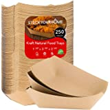 """Paper Food Boats (250 Pack) Disposable Brown Tray 1 Lb - Eco Friendly Brown Paper Food Tray 4"""" x 2"""" – Serving Boats for…"""