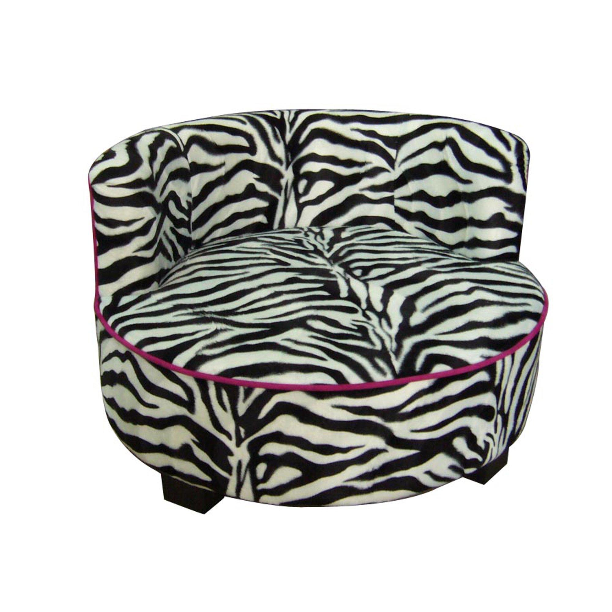 Ore International Round Zebra Print Upholstered Pet Sofa Bed, 15.5''