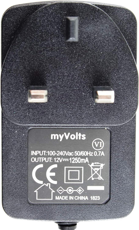 MyVolts UK power lead 12V plug compatible with Yamaha Digital Drums DTXPLORER