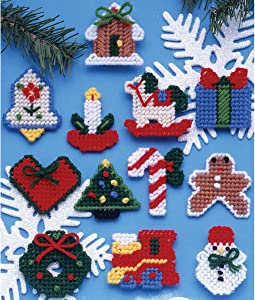 Tobin 1221 Country Christmas Ornaments Plastic Canvas Kit, 7 Count