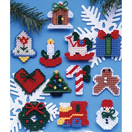 tobin country christmas ornaments plastic canvas kit 7 count - Plastic Canvas Christmas Ornaments
