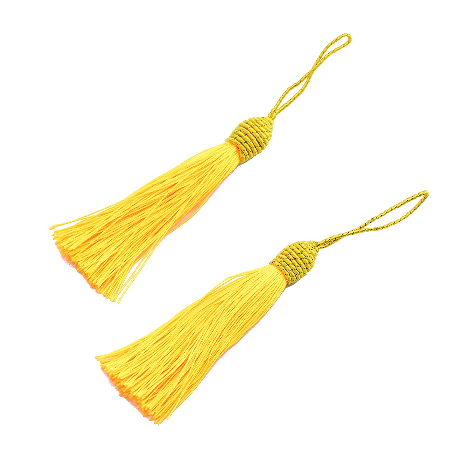 DIY Craft Accessory Bookmarks Souvenir Coffee Makhry 20pcs 15.5cm//6 Inch Silky Floss Bookmark Tassels with 2-Inch Cord Loop and Small Chinese Knot for Jewelry Making