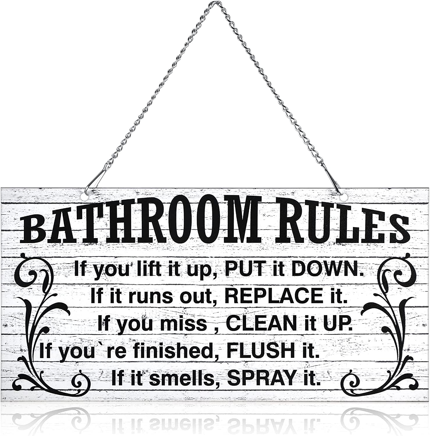 10 x 5 Inch Bathroom Rules Decor Metal Hanging Rustic Bathroom Rules Door Wall Plaque Decor Sign Vintage Bath Metal Wall Art, If It Smells Spray It. Sign Plaque Wall Decoration (White and Black)