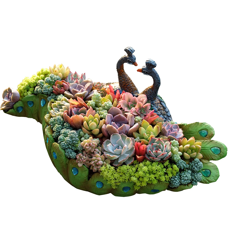 Worila Vintage Peacock Shape Succulent Planter Larger Handmade Resin Plant Pot / Flower Pot / Plant Container / Planter