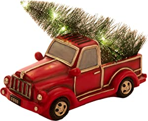 Glitzhome Rustic Christmas Table Decorations 11.02 Inches Metal Pickup Truck Decor Country Christmas Table Decor