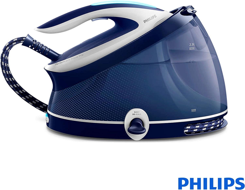 Philips GC9324/20 estación plancha al vapor 2,5 L Suela de T-ionicGlide Azul, Blanco - Centro de planchado (6,5 bar, 2,5 L, 440 g/min, 120 g/min, Suela de T-ionicGlide, Azul, Blanco)
