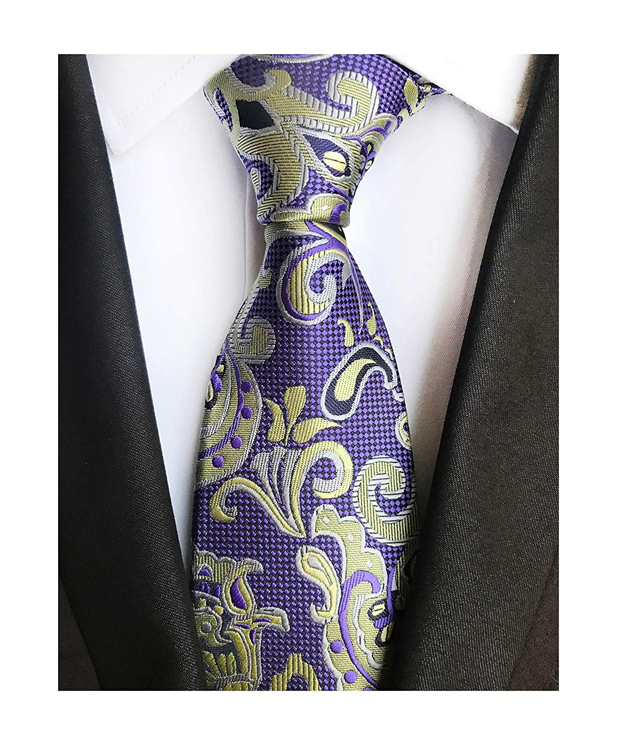 0e87997c71464 Mens Black and Gold Young Woven Silk Ties Fashion Gentleman Dress Nice  Neckties at Amazon Men s Clothing store
