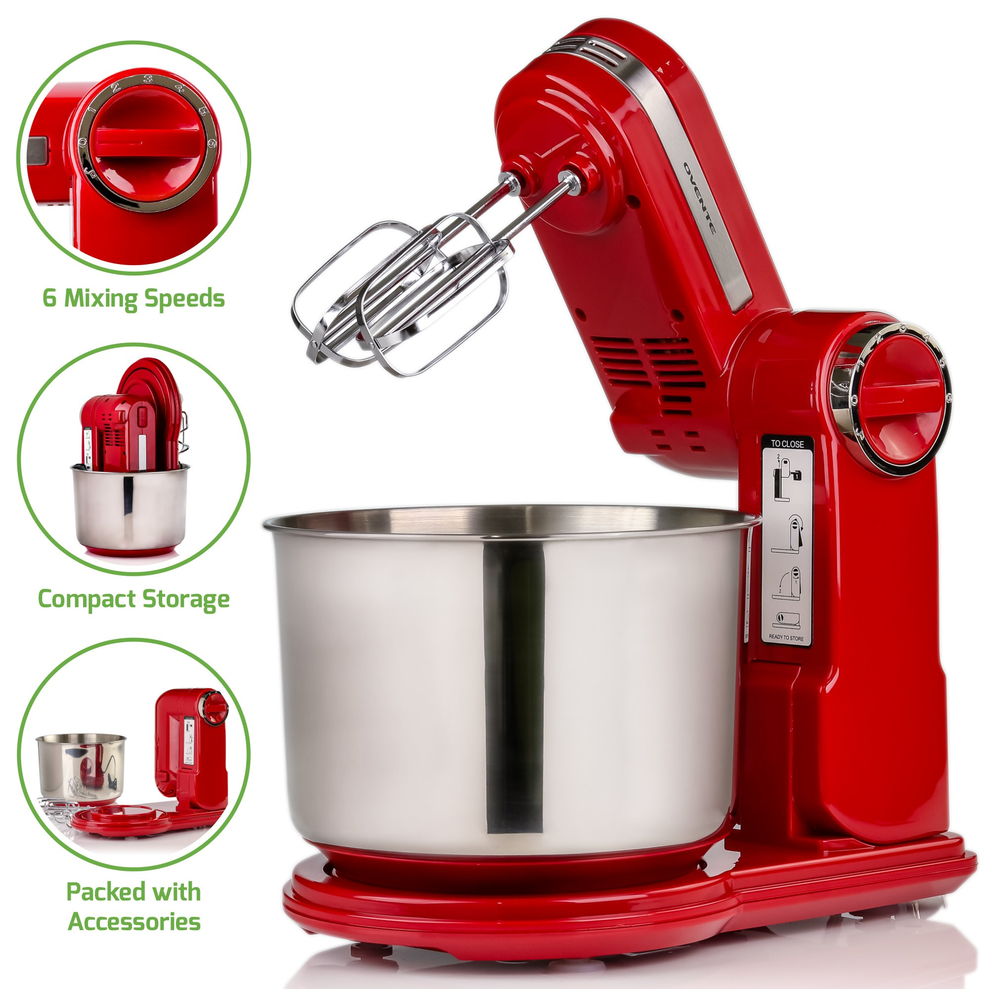 Ovente Professional Stand Mixer with 3.7 Quart Stainless Steel Mixing Bowl, 6 Mixing Speeds, Rotating Base, Includes Beaters, Dough Hooks, and Storage Stand, 300-Watts (SM890R - Red)