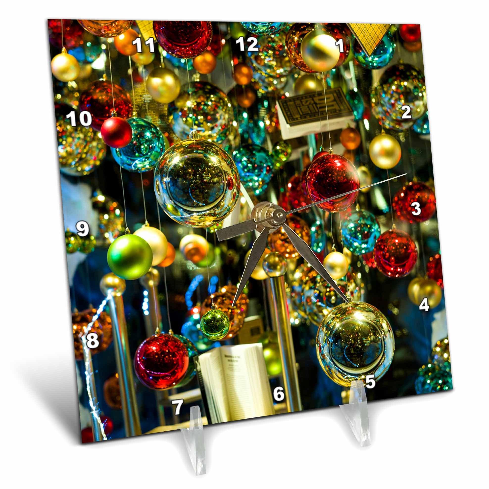 3dRose Danita Delimont - Holidays - Netherlands, Amsterdam. Christmas decoration in bookshop window - 6x6 Desk Clock (dc_277776_1)
