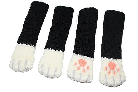 4 pcs (1 Set) Cute Cat silla pierna Protector para suelo de calcetines de