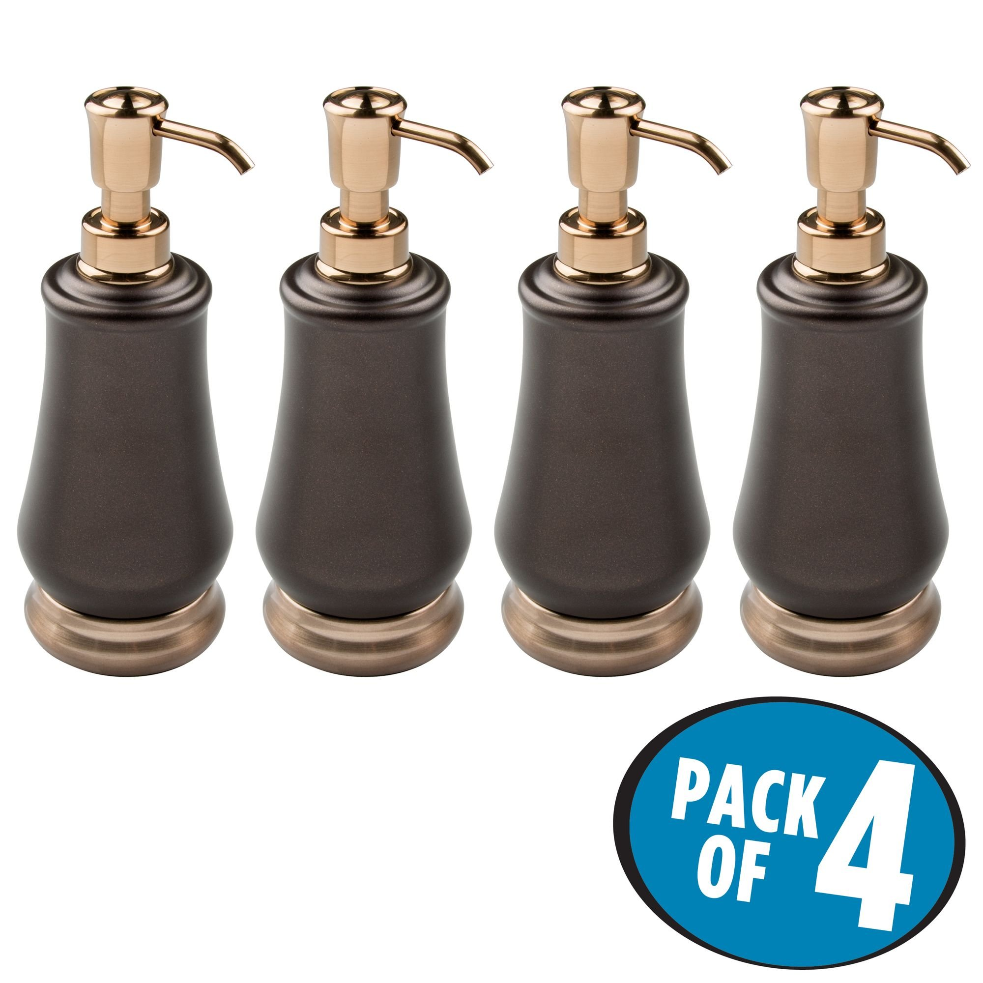 mDesign Liquid Soap Dispenser Pump Bottle for Kitchen Sink, Bathroom Vanity Countertops: Also for Hand Lotion & Essential Oils - Pack of 4, Steel Body in Pearl Bronze/Champagne Pump and Base by mDesign