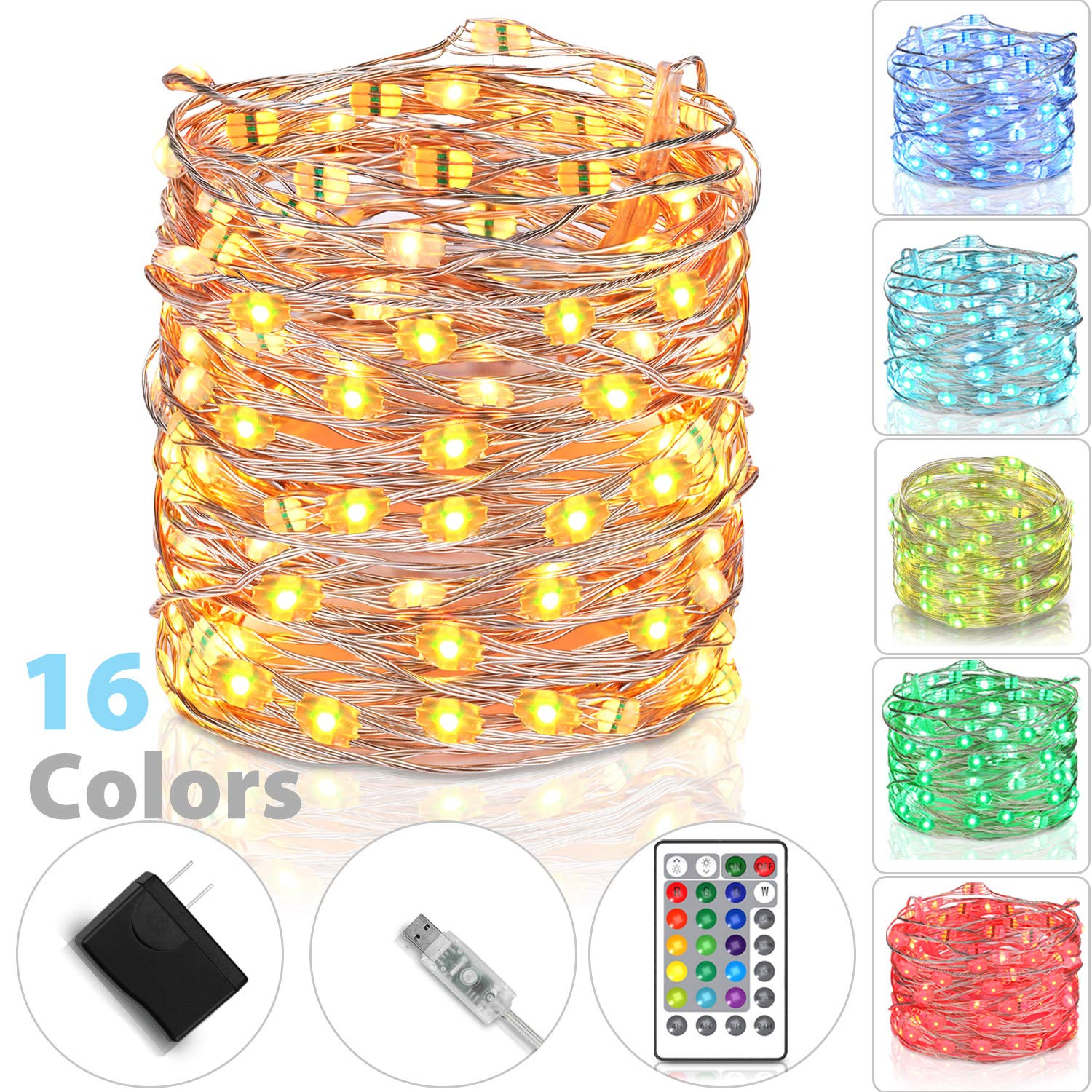 tesyker Fairy Lights, USB Powered Dimmable 16 Colors 33 Ft 100 LEDs Multicolor Silver Wire Color Lights Remote, Waterproof String Lights Indoor Bedroom Christmas Wedding Costume by tesyker