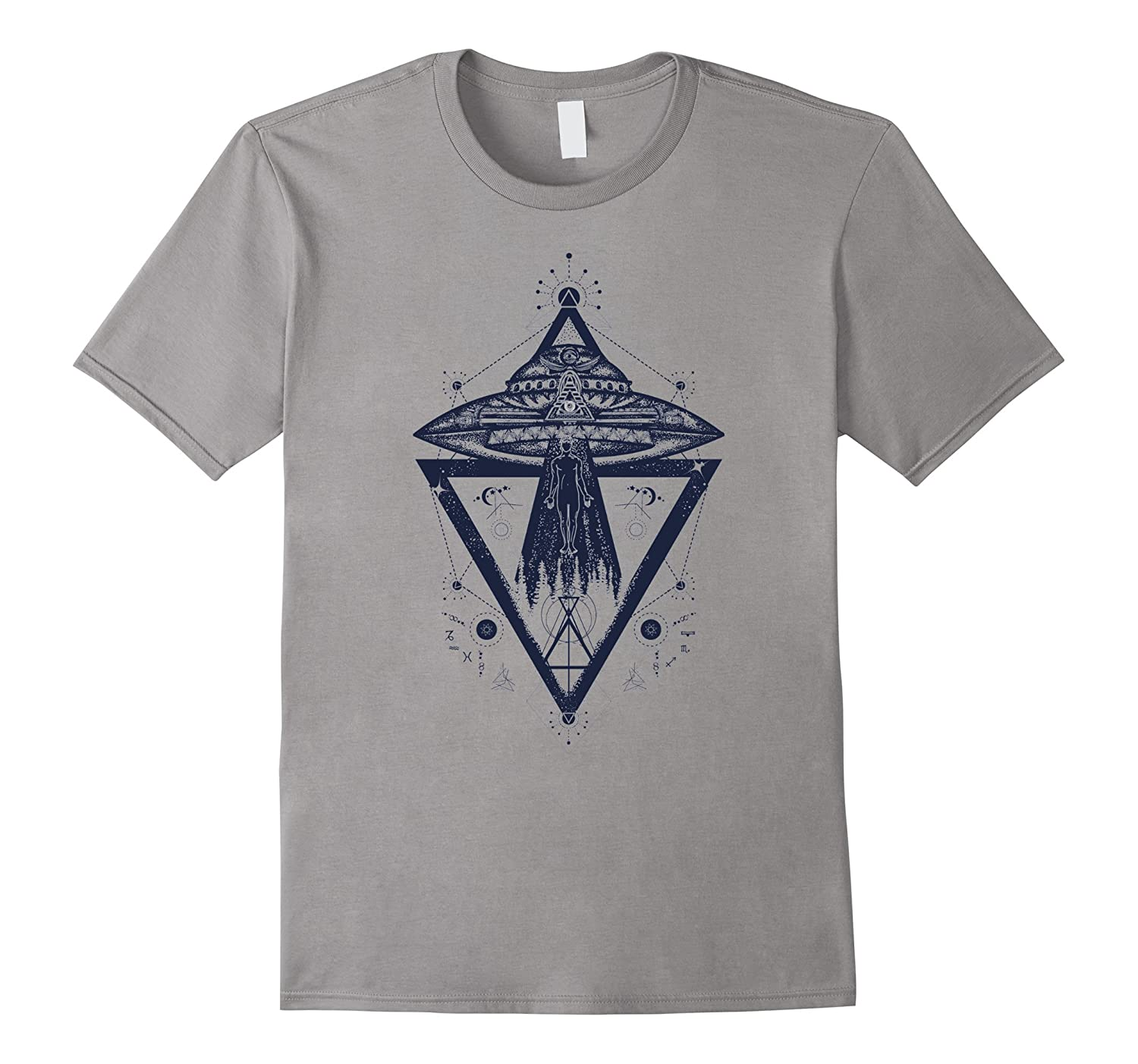 UFO Abducting Man Abstract Geometric T-Shirt-ANZ