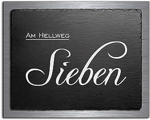Premium T/ürschild Hausnummer aus Schiefer und V2A Edelstahl Namensschilder mit Gravur und Motiven Familien-schilder f/ür die Haust/ür mit Namen selbstklebend oder mit Bolzen 20x16 cm