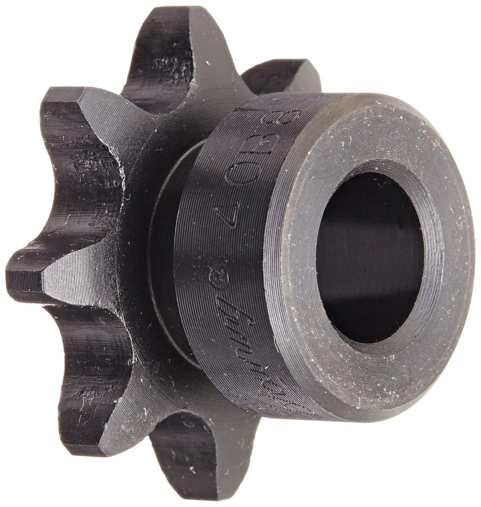 Browning 40B8 Minimum Bore Roller Chain Sprocket, Single Strand, Steel, 1/2'' Stocked Bore, 8 Teeth