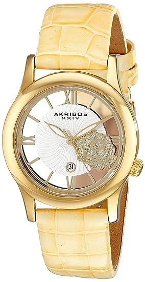 Akribos XXIV Reloj de cuarzo para mujer con oro esfera analógica pantalla y correa de piel color marrón ak837tn: Amazon.es: Relojes