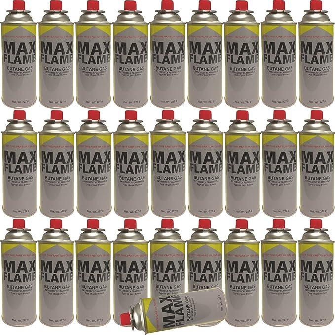 Botes de gas butano, gran llama, gas embotellado, latas para cocina, calentador, estufa, barbacoa, camping, paquete de 28
