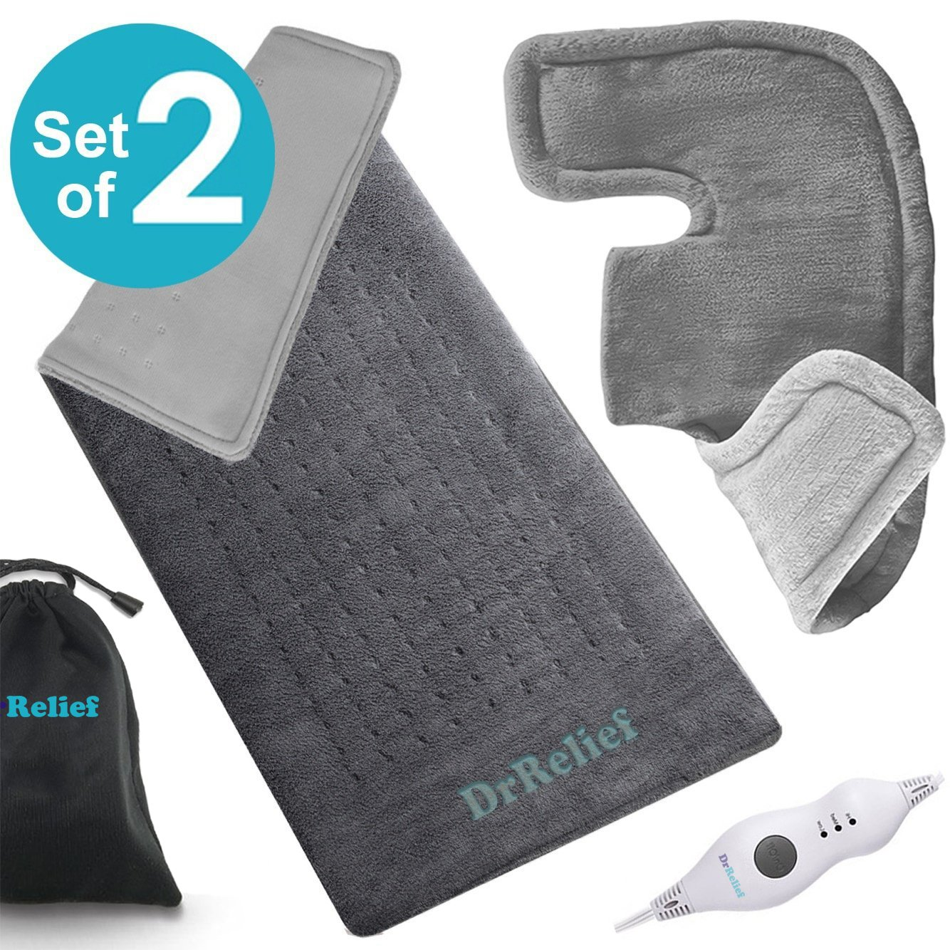 Heating Pad Gift Set of 2 – Shoulder & Neck Heating Pad and Extra-Large 12 x 24 Inch Heating Wrap for Back or Abdominal Pain Relief – Moist Heating Option with Auto Shut Off