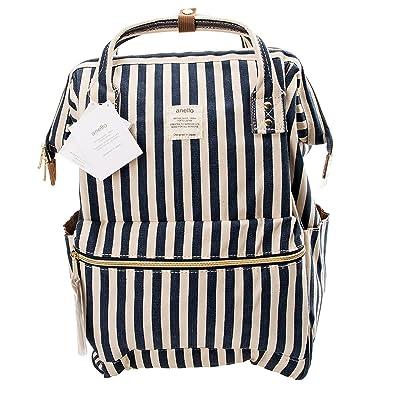 Anello Official Blue/White Stripe Japan Fashion Shoulder Rucksack Backpack Laptop Tablet Bag Unisex